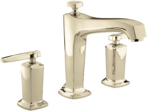 KOHLER K-T16236-4-AF Margaux Deck-Mount High-Flow Bath Faucet Trim with Lever Handles, Valve Not Included, Vibrant French Gold