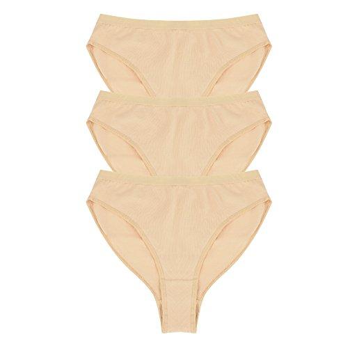 SportingBodybuillding 3 Pack Girls' Women's Brief For Ballet Dance Gymnastics High Cut Waist Underwear 3 - Briefs Gymnastics