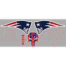 """New England Patriots pair of logos facing opposite directions V1 Vinyl Car Decal/Sticker with bonus New England Patriots Punisher. Full Color 4"""",6"""",8"""",10"""",12"""". OSD-VSFC-NF-NEPL2P"""