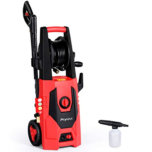 - PRYMAX Pressure Washer 3000 PSI 1.80 GPM Car Electric Power Washer with Hose Reel and Interchangeable Nozzles, Red