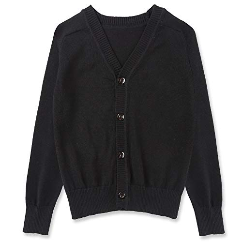 CUNYI Little Boys Button-up Cardigan V-Neck Cotton Knit Sweater Casual Outerwear, Black, ()
