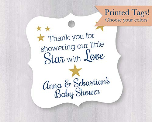 Thank you for Showering our Little Star Baby Shower Star Themed Favor Hang Tags (FS-182-2)