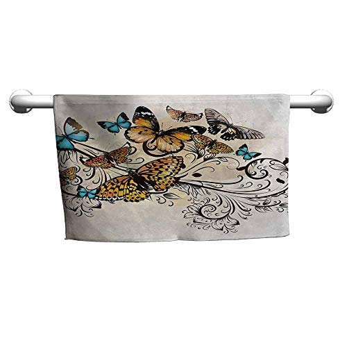 duommhome Butterfly Beach Activity Bath Towel Monarch Butterflies Vintage Artsy Damask Inspired Artistic Design W12 x L35 Light Brown Sky Blue Black ()