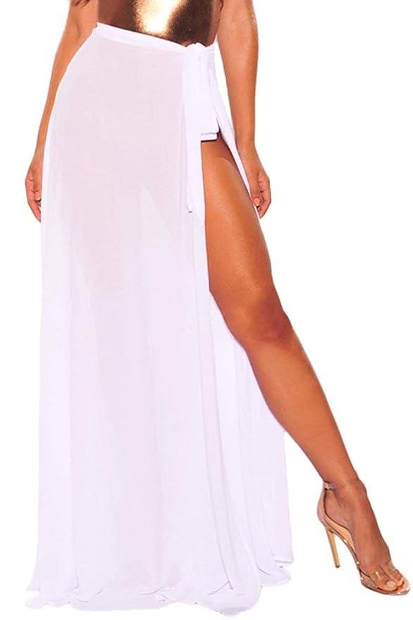 Chifón Maxi Faldas De Playa para Mujer Asimétrico Pareos Mode De ...