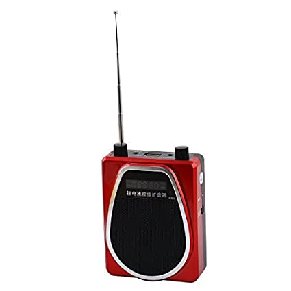 DealMux Reunião Ensino portátil Microfone cintura Speaker Amplificador Altifalante Set Red Preto