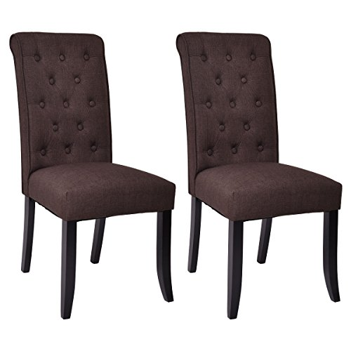 Dining Chair Set 2 Pair Accent Tufted Kitchen Modern Side: Giantex Set Of 2 Dining Chairs Fabric