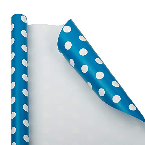 JAM PAPER Gift Wrap - Polka Dot Wrapping Paper - 25 Sq Ft - Blue with White Dots - Roll Sold ()