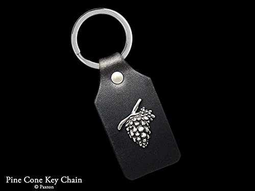 Sterling Silver Sun Pine Cone Keychain / Keyring Sterling Silver HummingBird on Genuine Leather Key Fob Handmade by Paxton