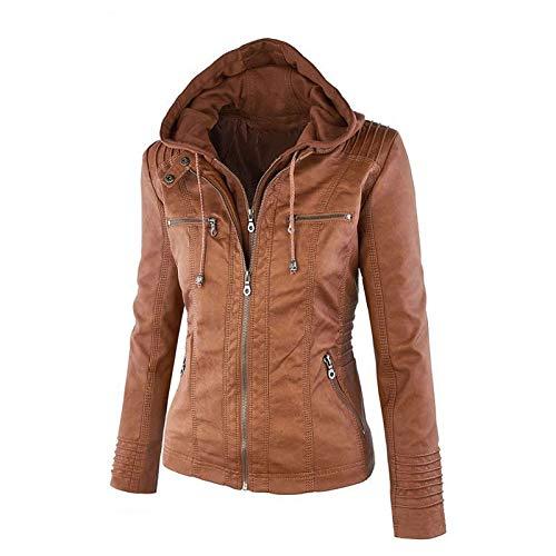 Amazon.com: Chaqueta de piel con capucha para mujer para ...