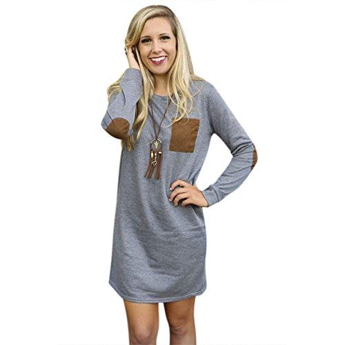 Frauen Kleider Tunika lange Blusen Tunika Shirts Langarm Mini Abendkleider