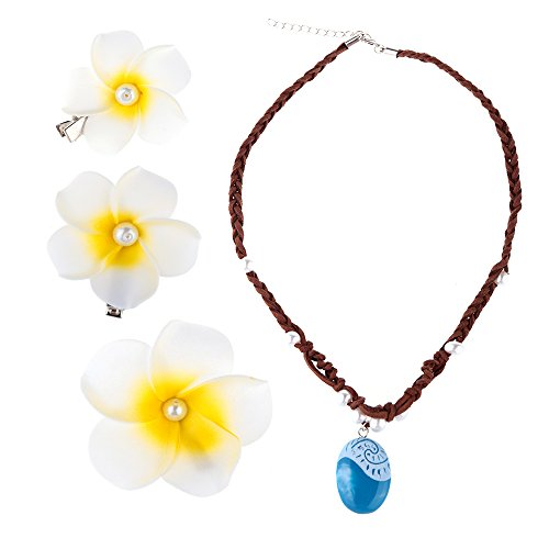 Hpwai Moana Necklace & Hair Flower Clips Set,Halloween Christmas Costume Dress Up Party Accessories Girls Kids Adult -