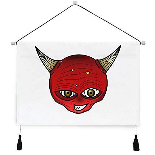 AfdsaswfvsJj Devil Horns Red Face Head Demon Satan Halloween Scroll Tapestry Personality Canvas Painting Wall Hanging with Tassels Background Artwork Decorative Living Room Bedroom 17.5x24.5 Inches