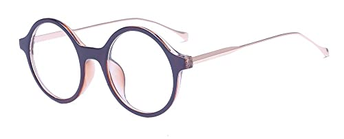 ALWAYSUV Marco De Plástico Enmarcado Completo Círculo Claro Lente Gafas Unisex Gafas Casual Moda Gafas De Metal