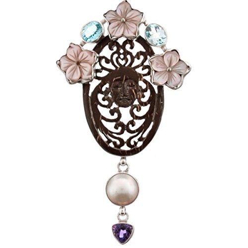 Flower Shell Goddess Blue Topaz Amethyst Mother Of Pearl 925 Silver Pendant , - Mother Of Pearl Goddess Pendant
