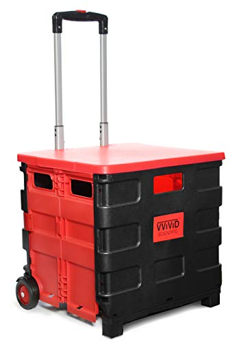 VViViD Small Collapsible & Portable Durable Plastic Rolling Universal Hand Truck w/Telescoping Handle