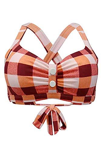 (futurino Women's Vintage 50s Plaid Pattern Halter Bikini Top Swimsuits )