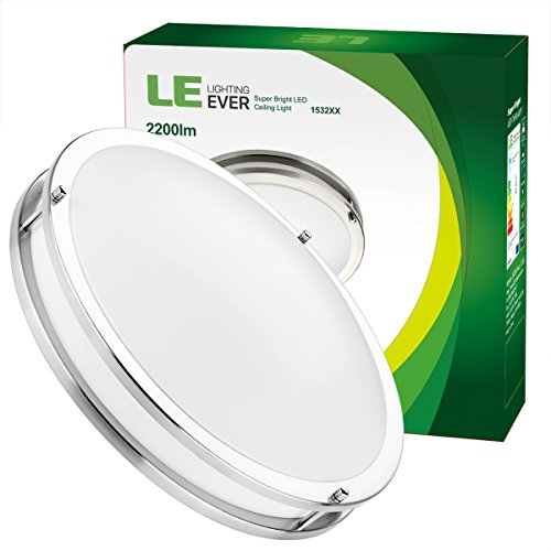 LE 16-Inch 26W Dimmable LED Flush Mount Ceiling Light, 200W Incandescent Bulbs Equivalent, 2200lm, 5000K Daylight White, 120° Beam Angle, LED Recessed Lighting Fixture, UL Listed