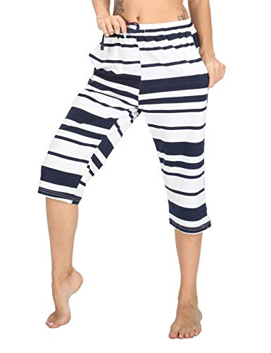 WEWINK CUKOO 100% Cotton Women Pajama Capri Pants Lounge Pants with Pockets Sleepwear (XL=US 16-18, Navy Stripe)