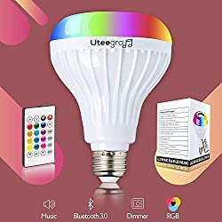 Bluetooth Light Bulb Speaker Color Changing Stereo Lights Smart Led Wireless Speakers RGB with 24 Keys Remote Control 6W E26 Bedroom Lamp Music Bulbs