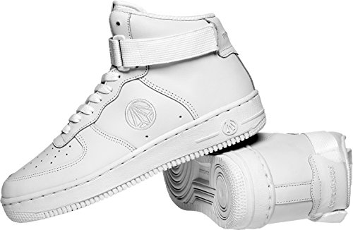 Paperplanes-1338 Unisex Fashion Casual Leather High Top Sneakers Zapatos Blanco