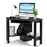 Tangkula Corner Desk, Corner Computer Desk, Wood Compact Home Office Desk, Laptop PC Table Writing Study Table, Workstation with Smooth Keyboard Tray & Storage Shelves