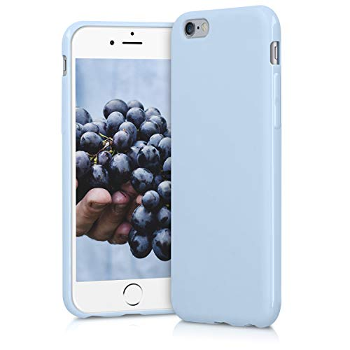 kwmobile TPU Silicone Case for Apple iPhone 6 / 6S - Soft Flexible Shock Absorbent Protective Phone Cover - Light Blue Matte