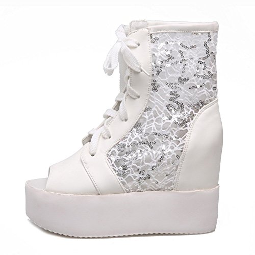 AllhqFashion Women's Peep Toe High Heels Mesh Legging Solid Lace Up Sandals White 1K7iXt