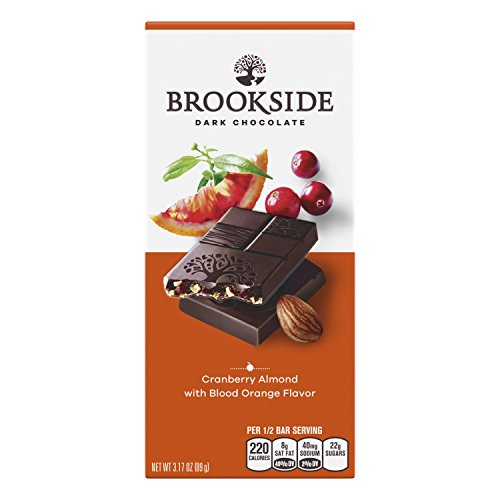 BROOKSIDE Cranberry Almond Dark Chocolate Candy Bar, Semisweet Dark Chocolate with Cranberry, Almonds, and Blood Orange Flavor, 3.17 Ounce (Pack of 12)