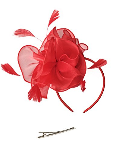 Fascinators Hat for Women Tea Party Headband Kentucky Derby Wedding Cocktail Flower Mesh Feathers Hair Clip (2-Red) ()