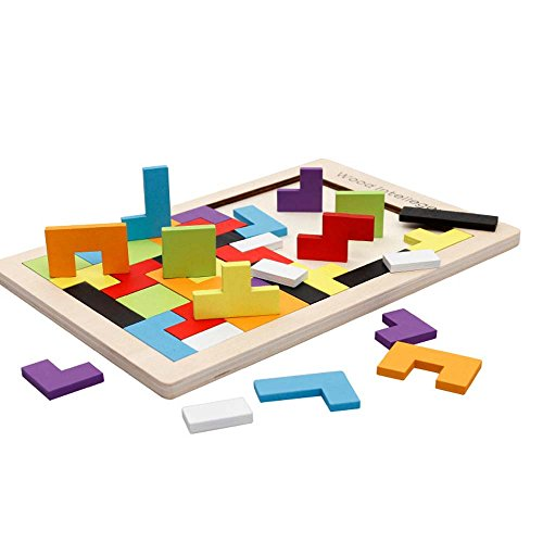 Wooden Tetris Puzzle Tangram Jigsaw Brain Teasers Toy for Kids 40 Pcs Wood Building Blocks Game Colorful Wood Puzzles Box for Educational Intellectual Imagination Learning