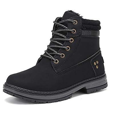 KARKEIN Ankle Boots for Women Low Heel Work Combat Boots Waterproof Winter Snow Boots