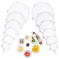 Siliconen stretchdeksels, siliconen voedselhoezen 12 Pack, BPA-vrij, 6 verschillende maten siliconen deksels passen…