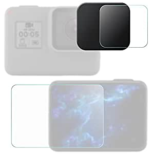 Lens & Screen Protectors for GoPro Hero5 Hero6 Black Sport Camera with Lens Cap, FineGood 2 Pcs Anti-Scratches Tempered Glass and Plastic Lens Cover for Hero 5 6 Action Camera