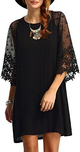 5957acc09eb7 MakeMeChic Women's Casual Crewneck Half Sleeve Summer Chiffon Tunic Dress