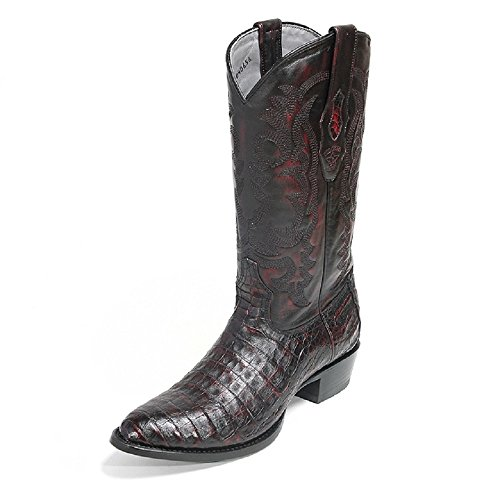 Men's Round Toe Black Cherry Genuine Leather Caiman Belly Skin Western Boots - Exotic Skin Boots