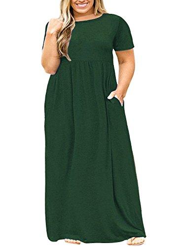 POSESHE Women Short Sleeve Loose Plain Casual Plus Size Long Maxi Dress with Pockets Dark Green 4XL