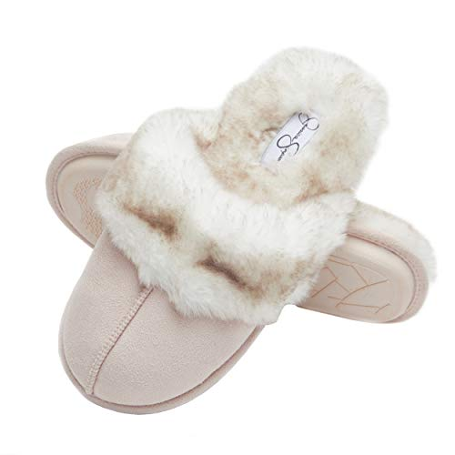 Jessica Simpson Comfy Faux Fur Womens House Slipper Scuff Memory Foam Slip On Anti-Skid Sole (Size Small, Pink)