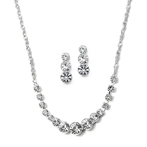 Mariell Dainty Crystal Rhinestone Necklace and Earrings Jewelry Set - Great for Prom & Bridesmaids