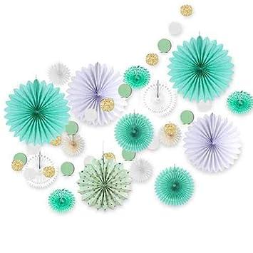 Amazon.com: ATUKI Juego de decoración de papel verde menta ...