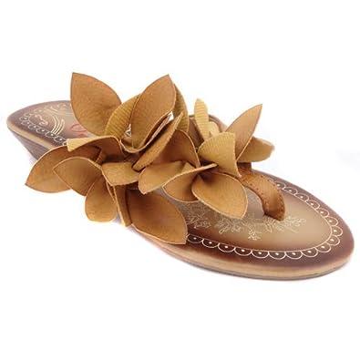 14636ef808b4bb Heavenly Feet  Gina  Tan Brown Faux Leather Flat Wedges Flips Flops Sandals  (UK