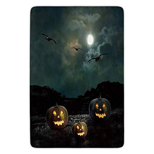 (Cokialo Halloween Yard of an Old House at Night Majestic Moon Sky Creepy Dark Evil Face Pumpkins Decorative Door Mat Bath Rug with)