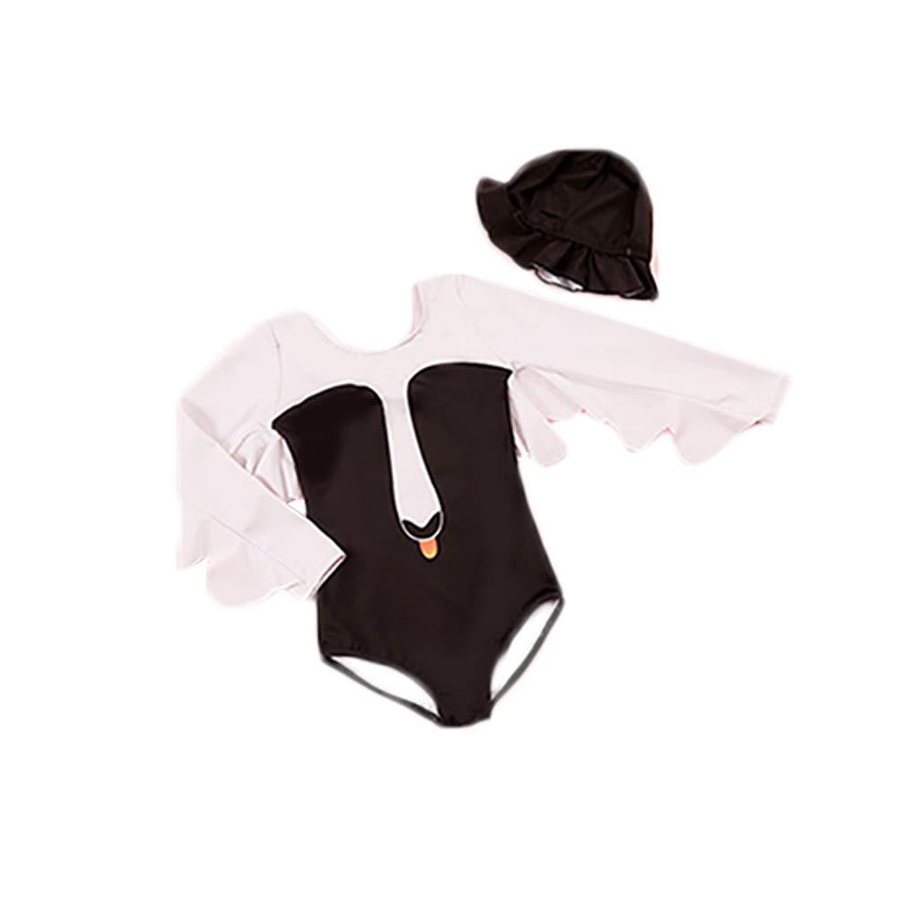 OYMMENEY Girls Cartoon Swan Shaped Swimsuit Long Sleeve One Piece Swimwear
