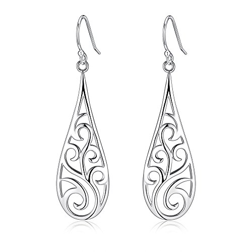 Highly Polished Sterling Silver Filigree Dangle Drop Earrings, Rattan & Raindrop (Highly Polished)