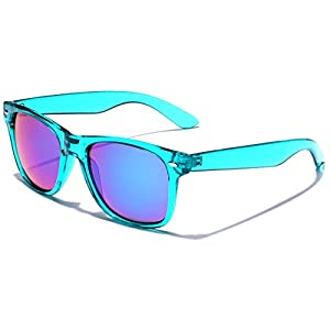 Retro 80's Fashion Sunglasses - Colorful Neon Translucent Frame - Mirrored Lens - Turquoise