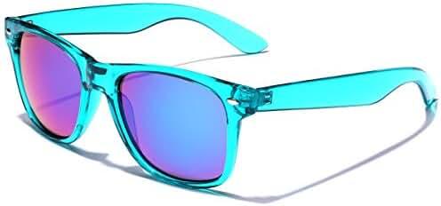 Retro 80's Fashion Sunglasses - Colorful Neon Translucent Frame - Mirrored Lens