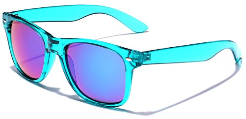 Neon Lens - Retro 80's Fashion Sunglasses - Colorful Neon Translucent Frame - Mirrored Lens - Turquoise