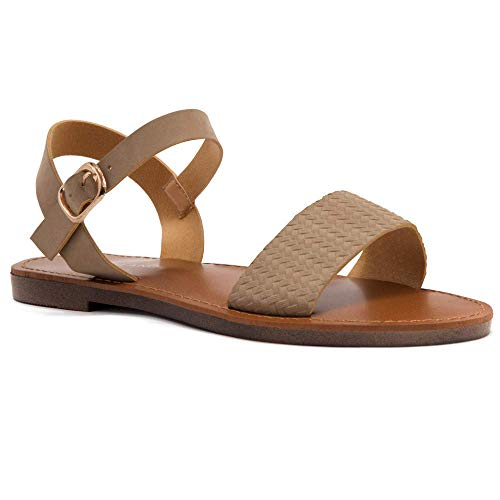 Herstyle Women's Keetton Open Toes One Band Ankle Strap Flat Sandals 1896 CamelNU 11.0