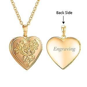 U7 Flower Heart Locket Necklace Black Side Engravable 18K Gold Plated Photo Locket Pendant Personalized for Women Girls