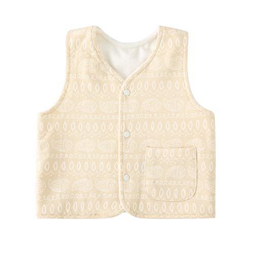 pureborn Infant Baby Boy Girl Reversible Fleece Vest Sleeveless Warm Waistcoat Khaki Geometric 6-12 - Reversible Fleece Vest