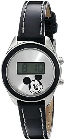 Disney Unisex MK1040A Mickey Mouse Digital Silver Sunray Dial Black Strap Watch